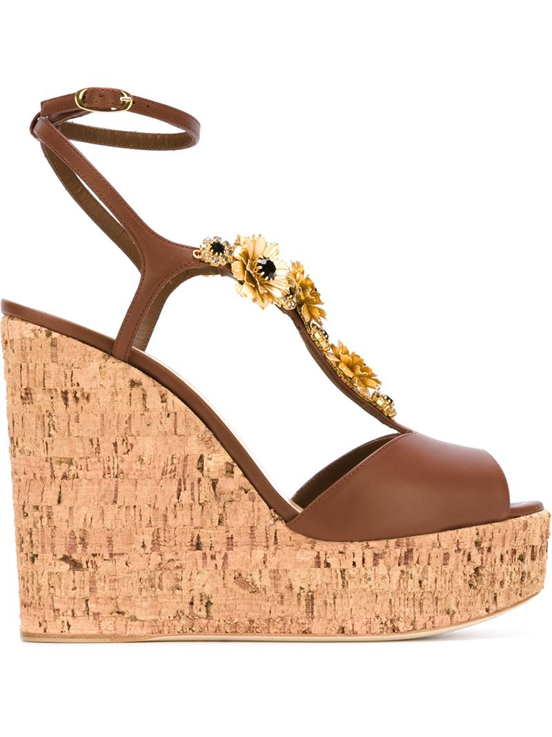 giuseppe zanotti wedge sandals in brown lyst
