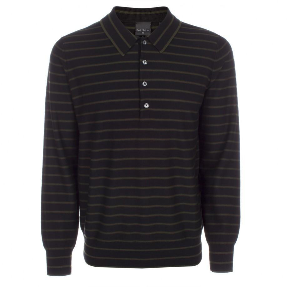 Paul smith men 39 s black stripe merino wool long sleeve polo for Long sleeve wool polo shirts