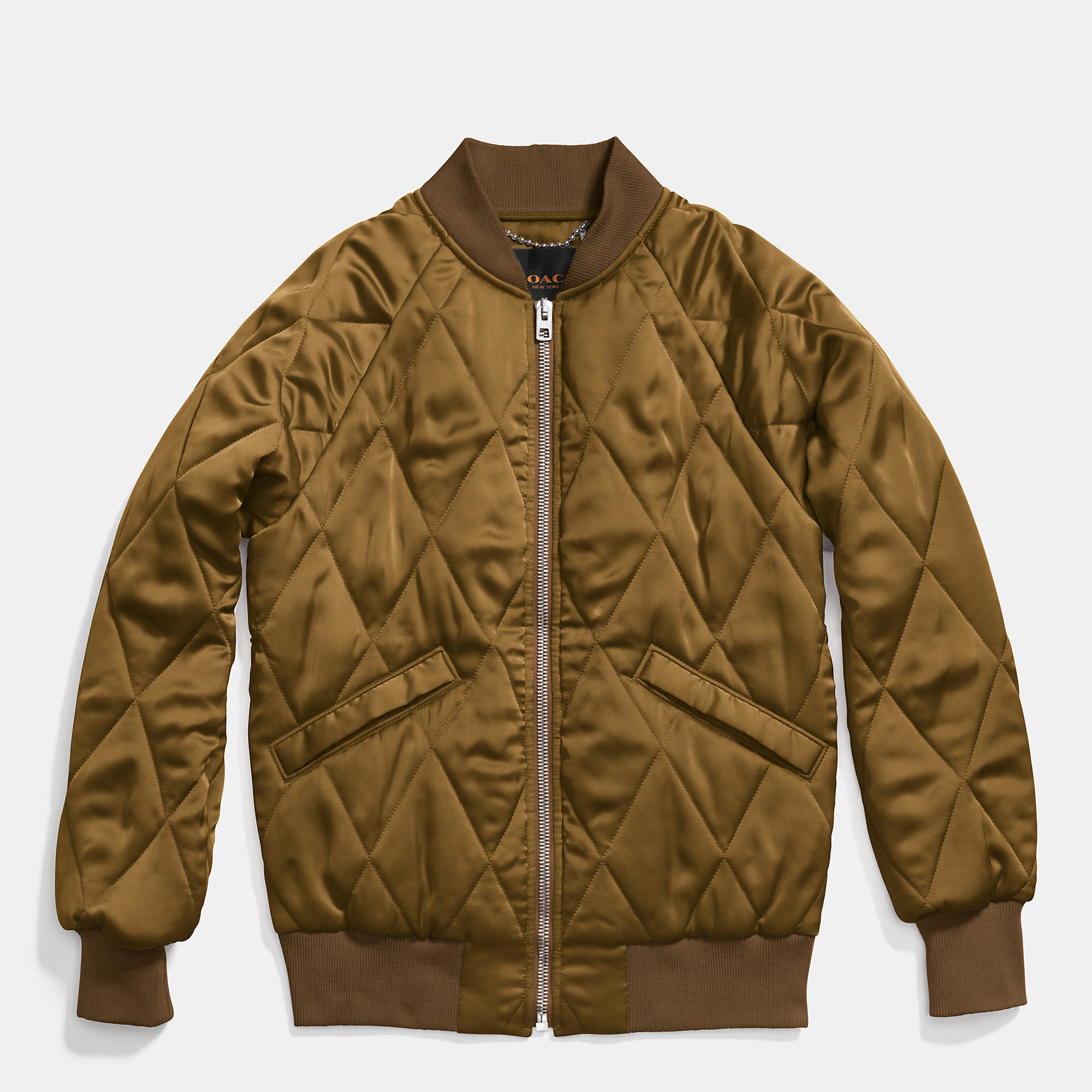 Lyst Coach Quilted Blouson Jacket In Green