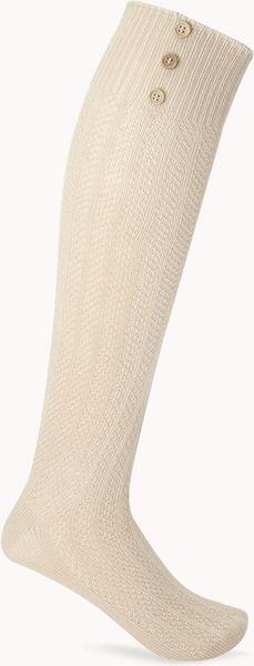 Forever 21 Refined Buttoned Knee High Socks in Beige