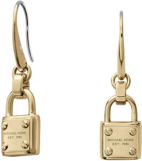 michael kors gold tone padlock drop earrings in gold lyst
