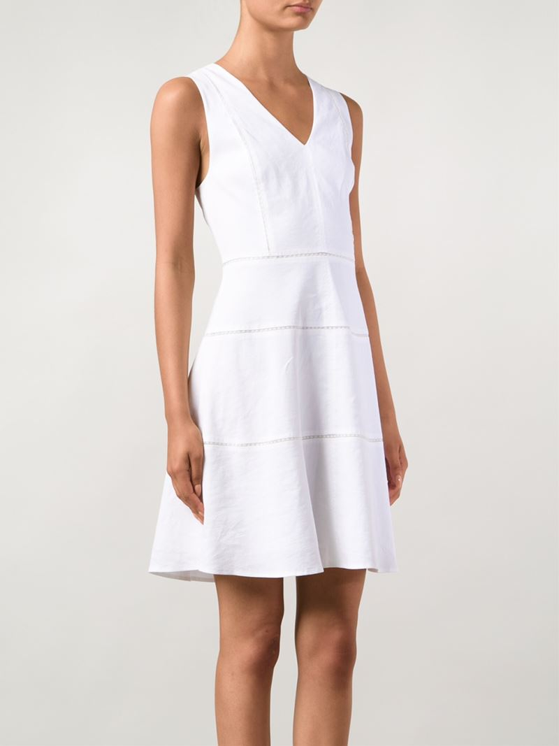 Theory sleeveless linen skater dress in white lyst for White linen cocktail recipe