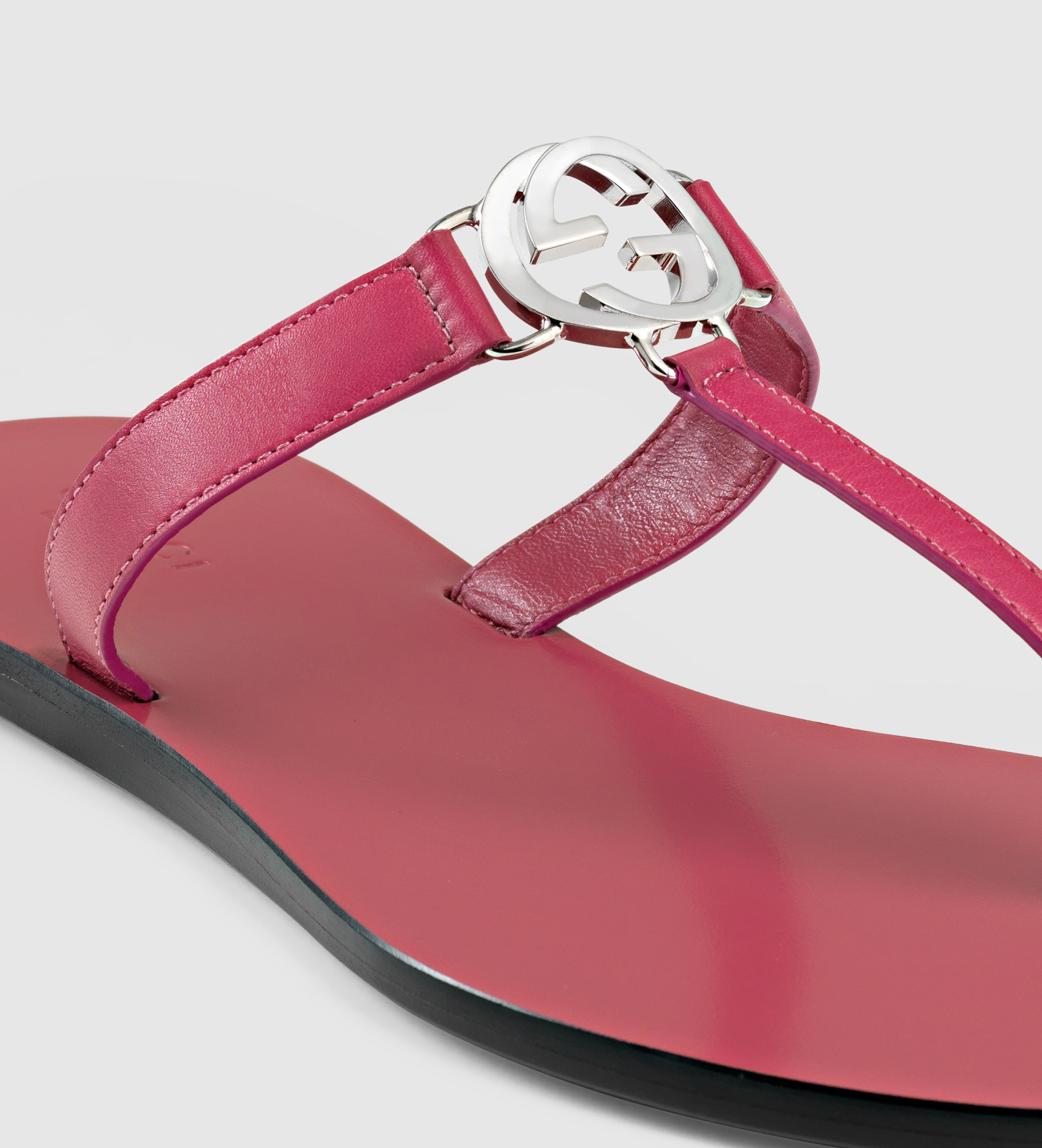 9551e847fb9 Lyst - Gucci Gg Thong Leather Sandal in Pink