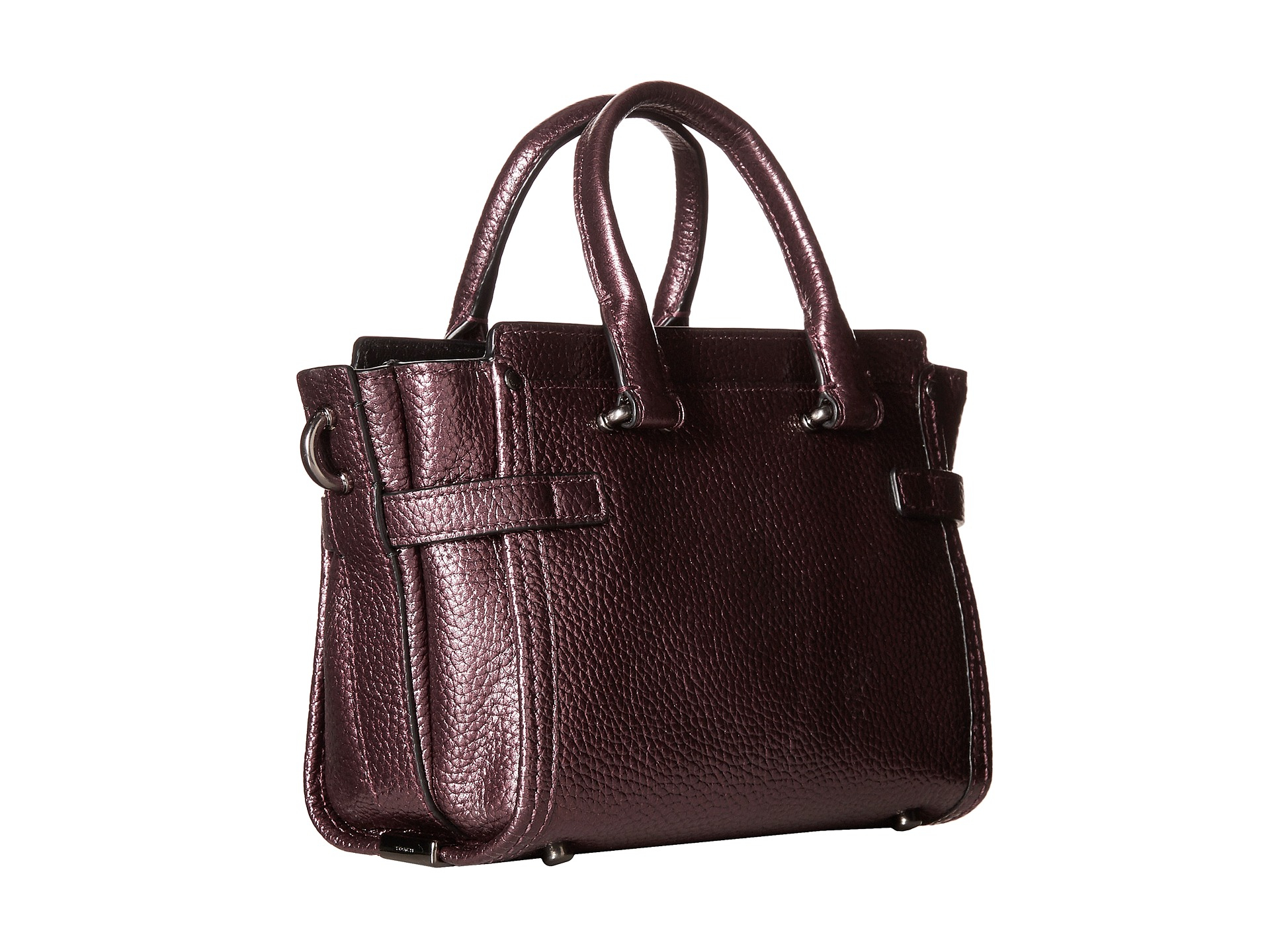 8dd2fc0c4b Lyst - COACH Metallic Pebble Light Swagger 20 Carryall in Purple