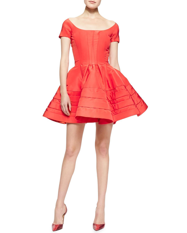 Zac Posen Shortsleeve Faille Flare Dress Azalea In Red