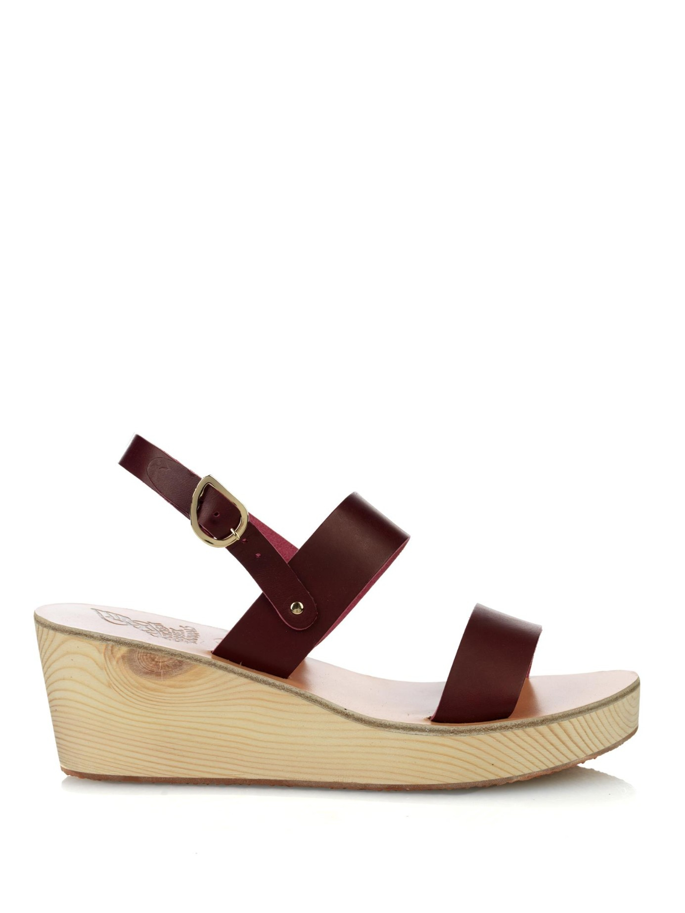 Lyst Ancient Greek Sandals Clio Leather Wedge Sandals In Purple