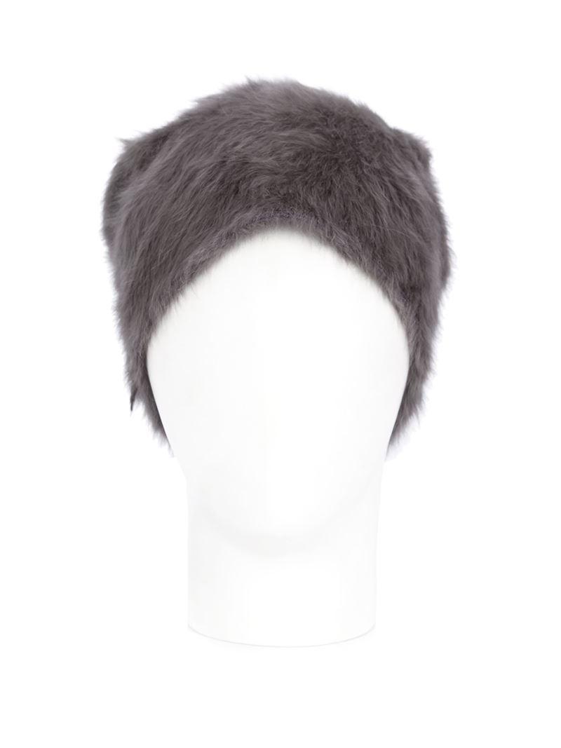 Reinhard Plank Rabbit Fur Beanie Hat in Gray for Men - Lyst c6fcc8eb020d