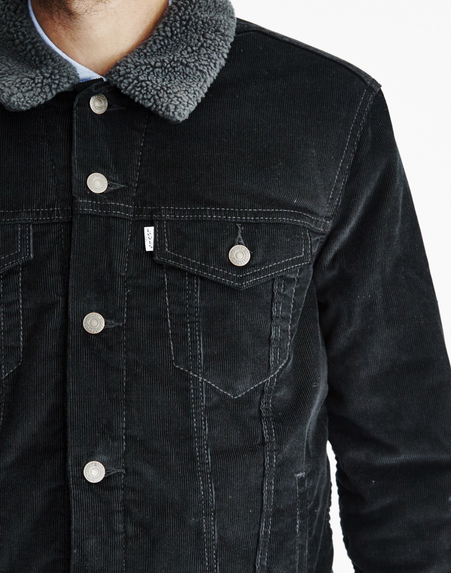 levi 39 s type 3 sherpa trucker jacket black sherpa trucker in black for men lyst. Black Bedroom Furniture Sets. Home Design Ideas