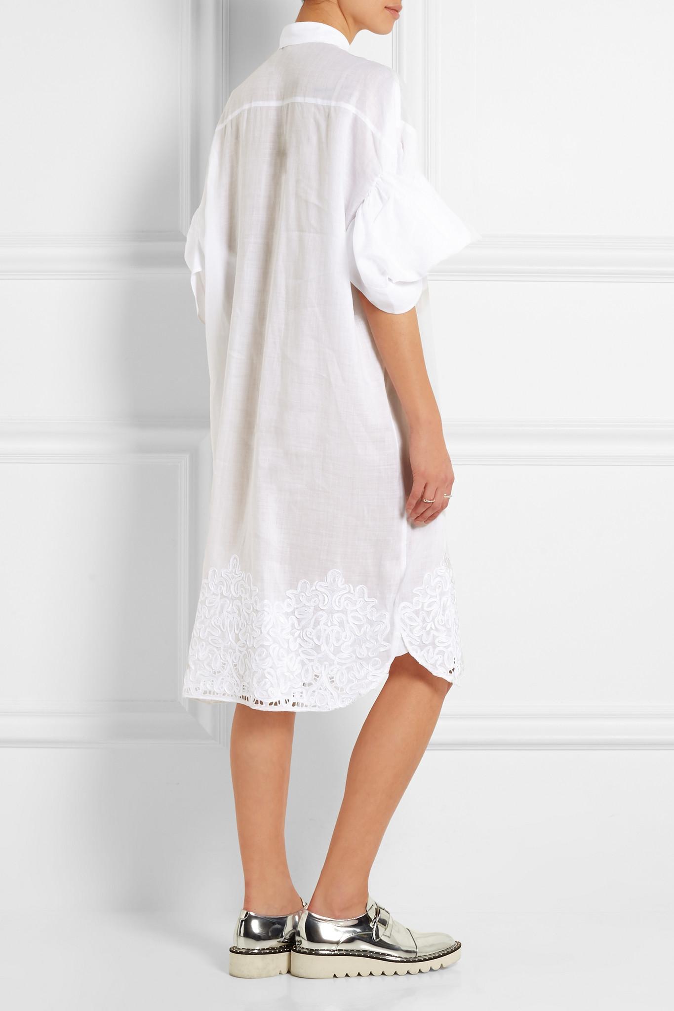 Lyst junya watanabe oversized embroidered linen shirt for White linen dress shirt