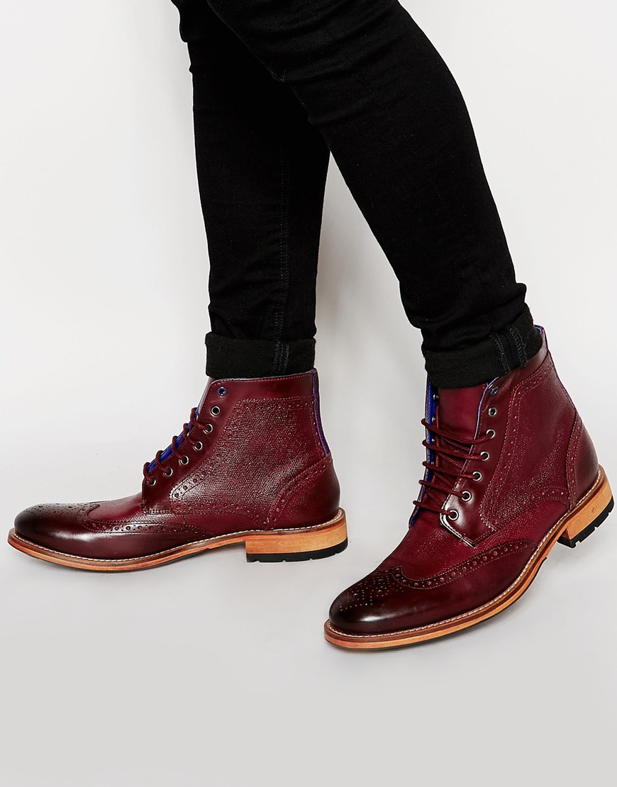 ted baker sealls leather brogue boots in for lyst