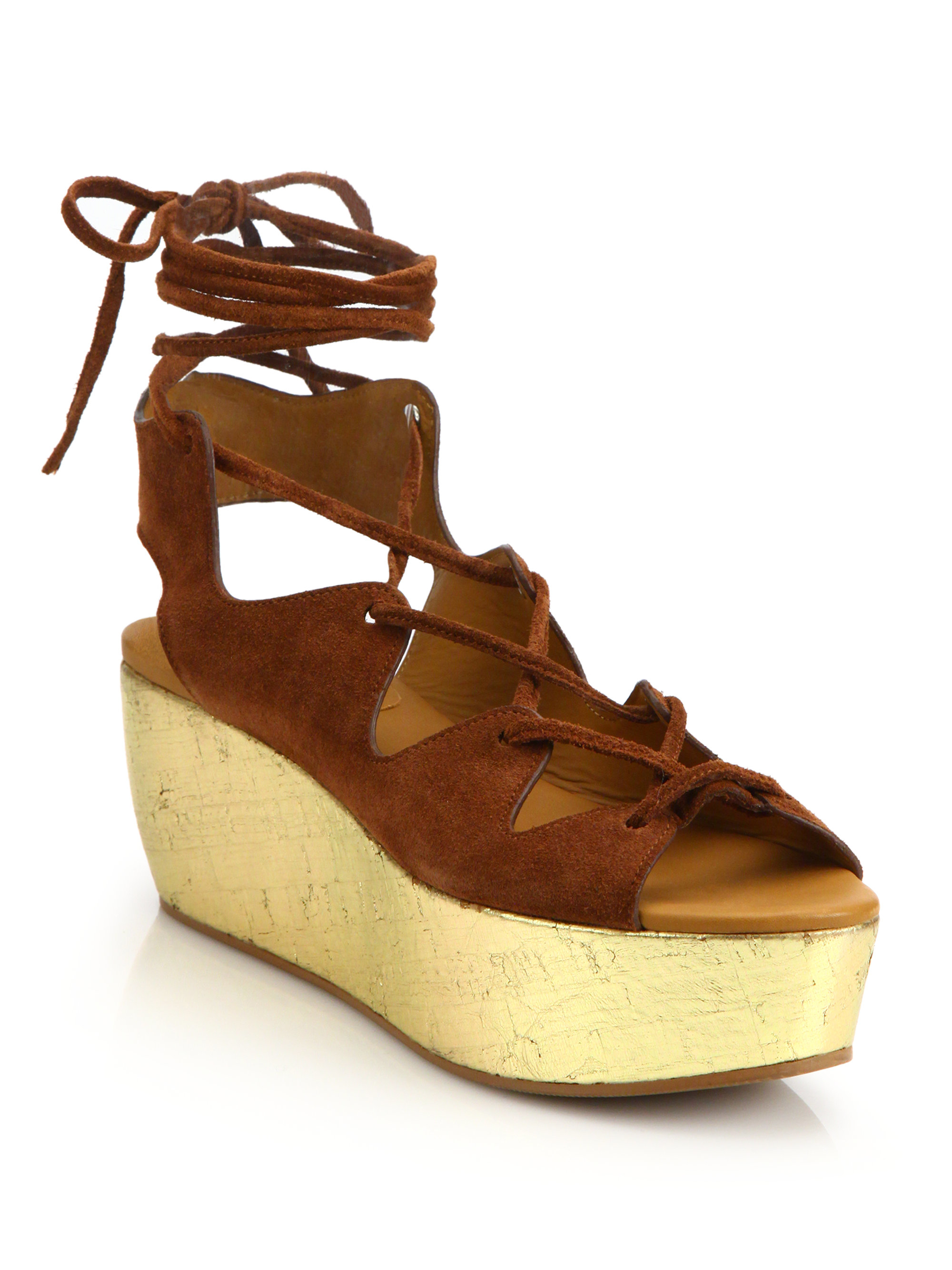 See By Chlo 233 Liana Suede Lace Up Platform Wedge Sandals In