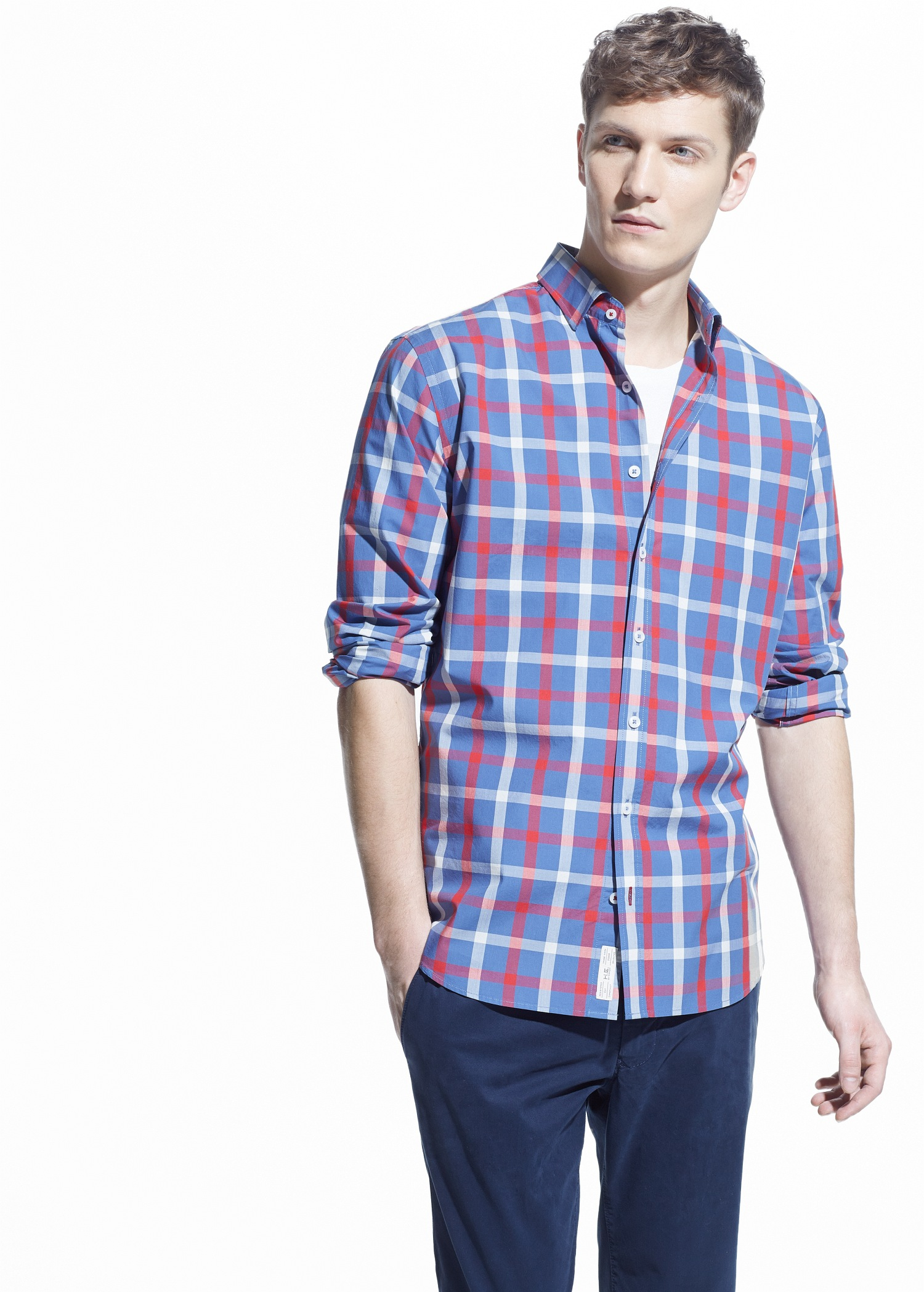 Lyst Mango Slim Fit Check Shirt In Blue For Men