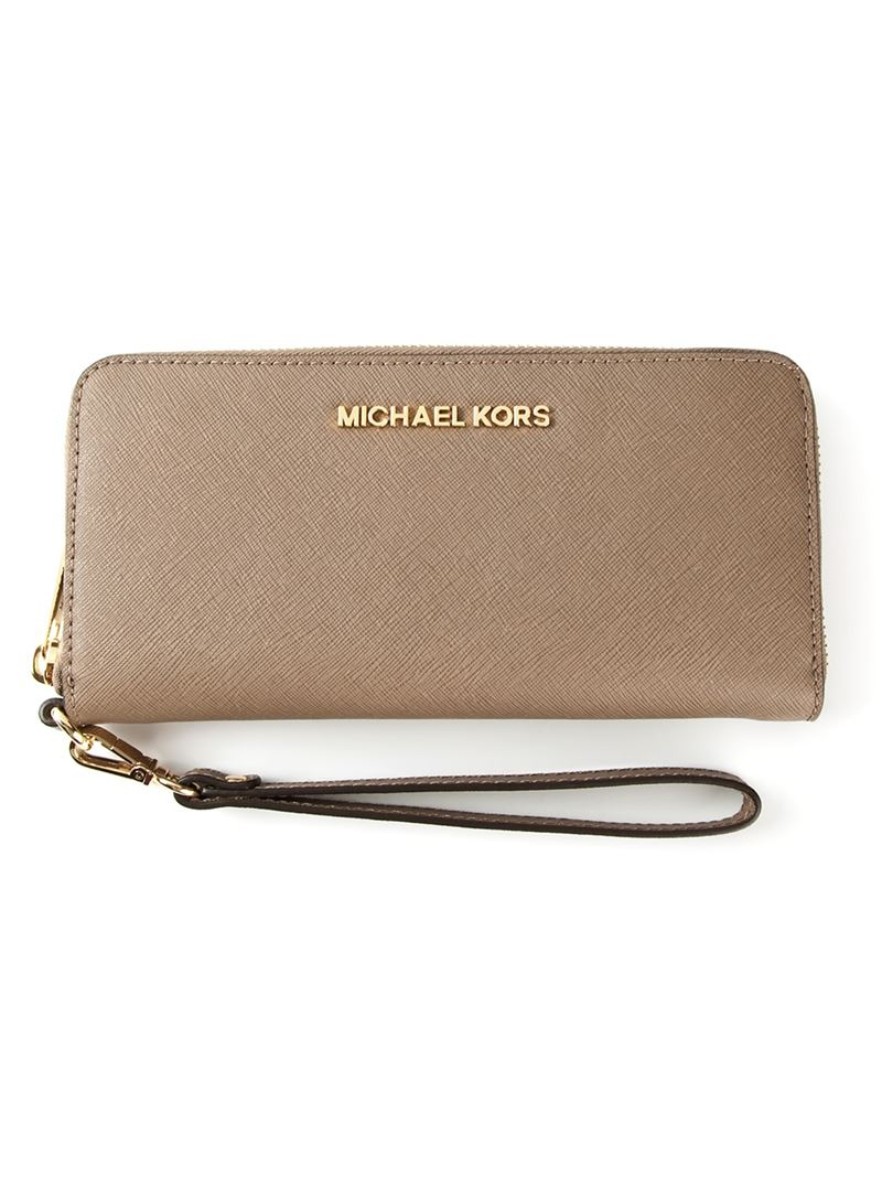 Michael Michael Kors Jet Set Travel Wallet In Brown Lyst