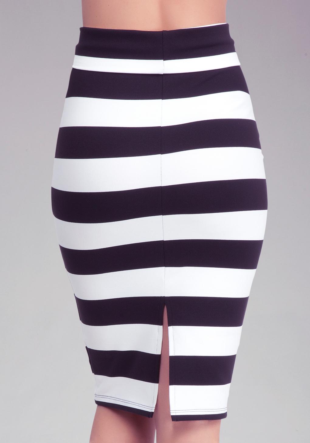 Bebe Wide Stripe Midi Skirt In Black White Black Lyst