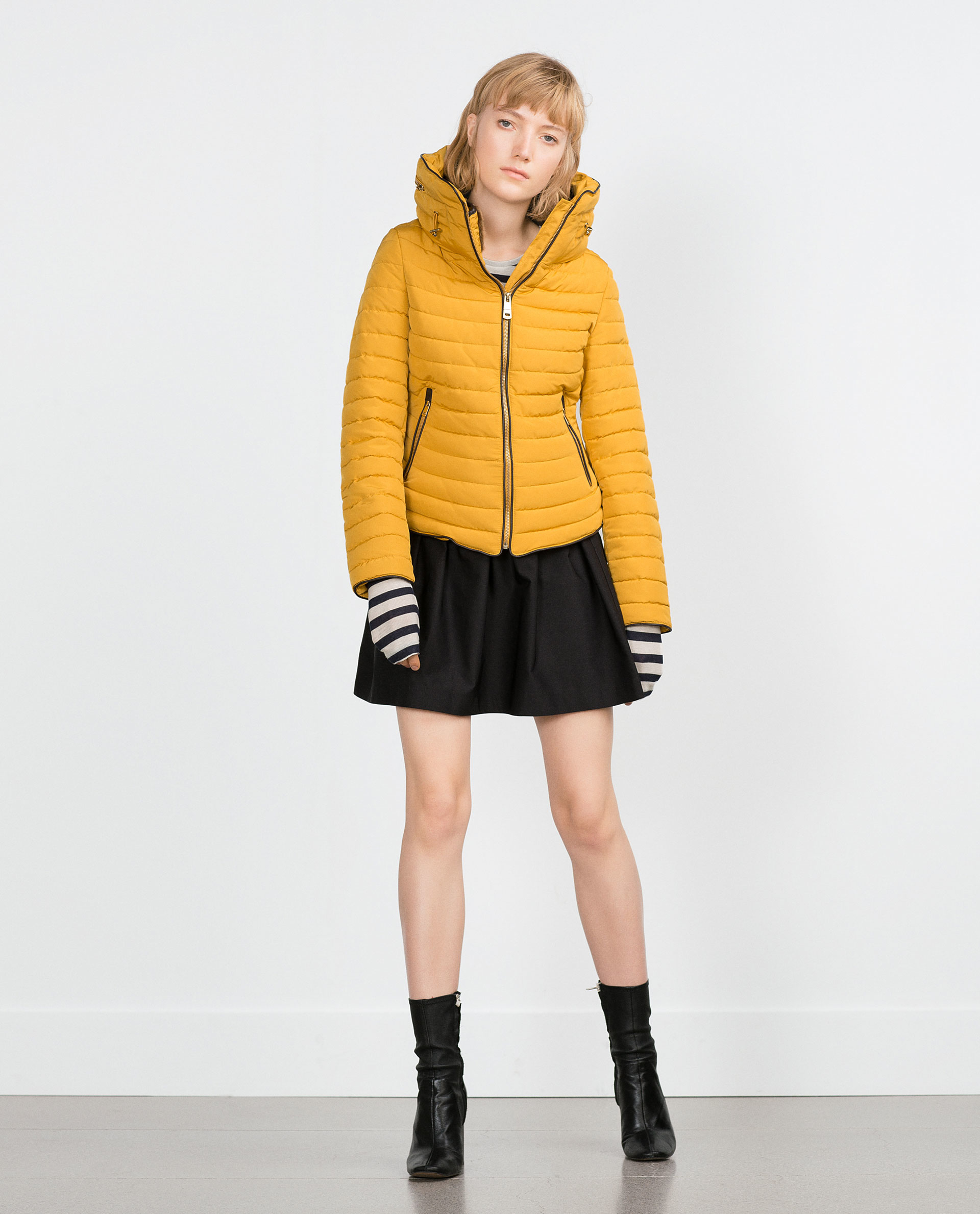 Zara Quilted Coat With Faux Fur Collar In Yellow Lyst