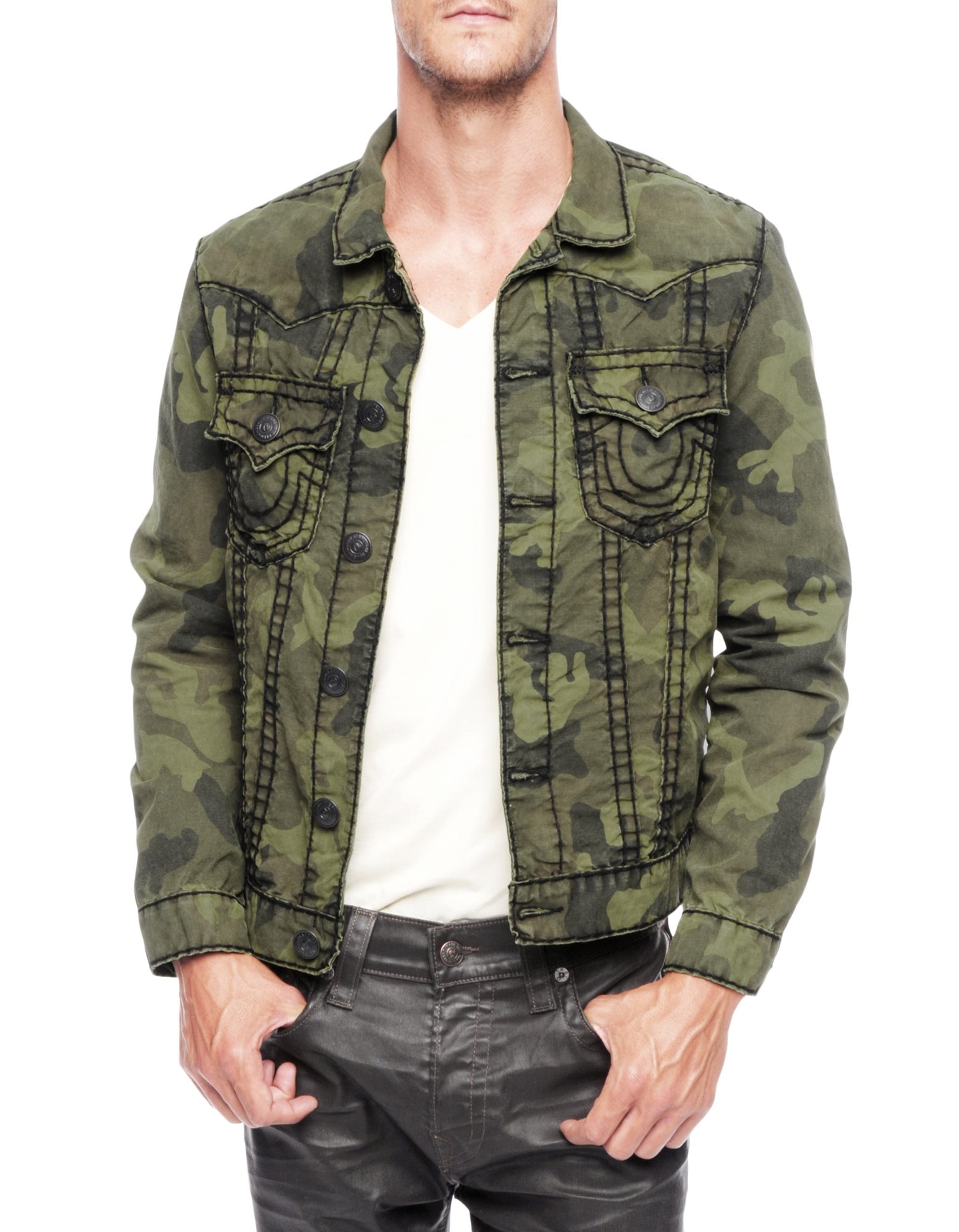 2c94505eb True Religion Jimmy Olive Green Super T Camo Mens Jacket for men