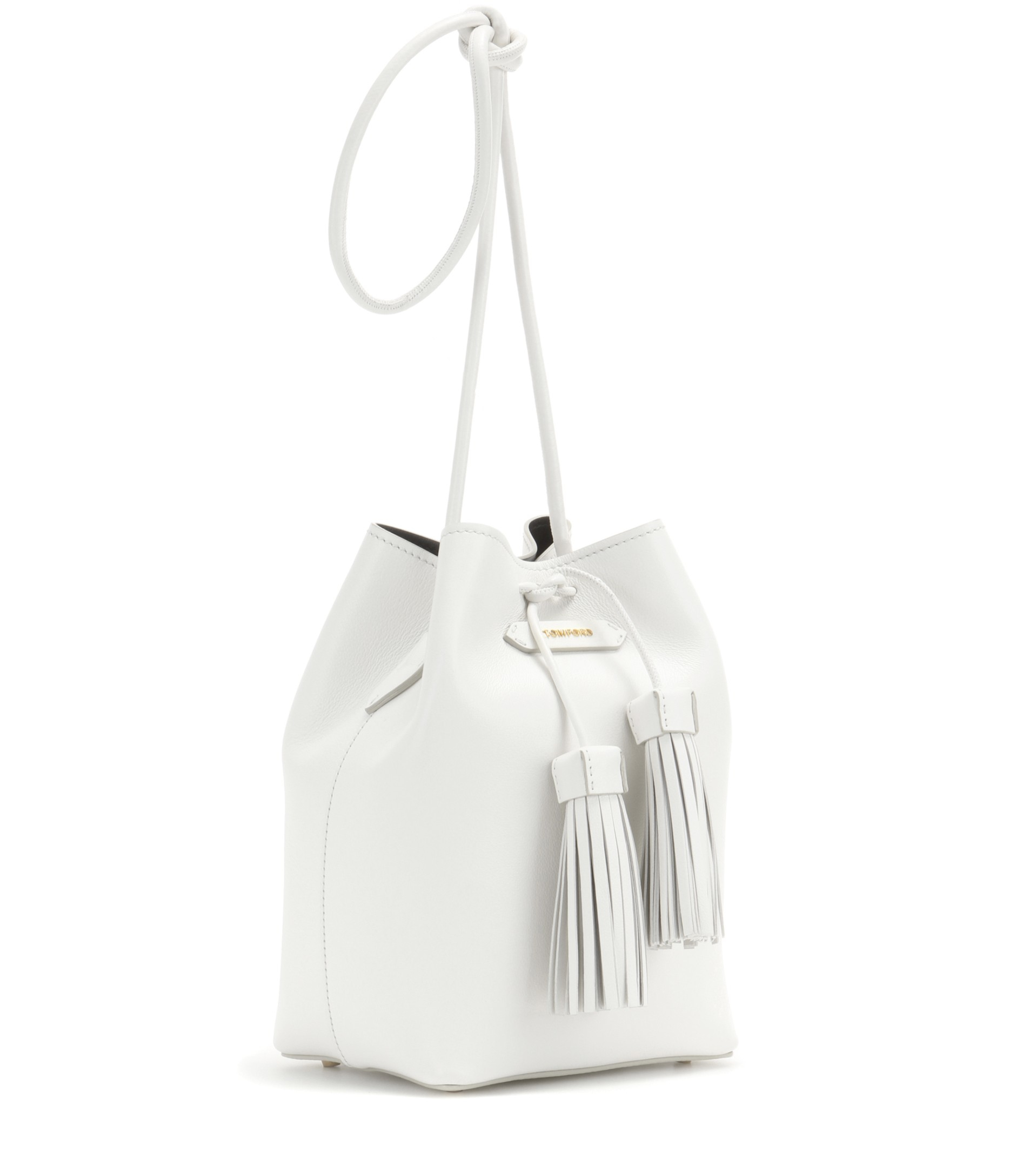 9ff8e5649192 Tom Ford Bucket Small Leather Bucket Bag in White - Lyst