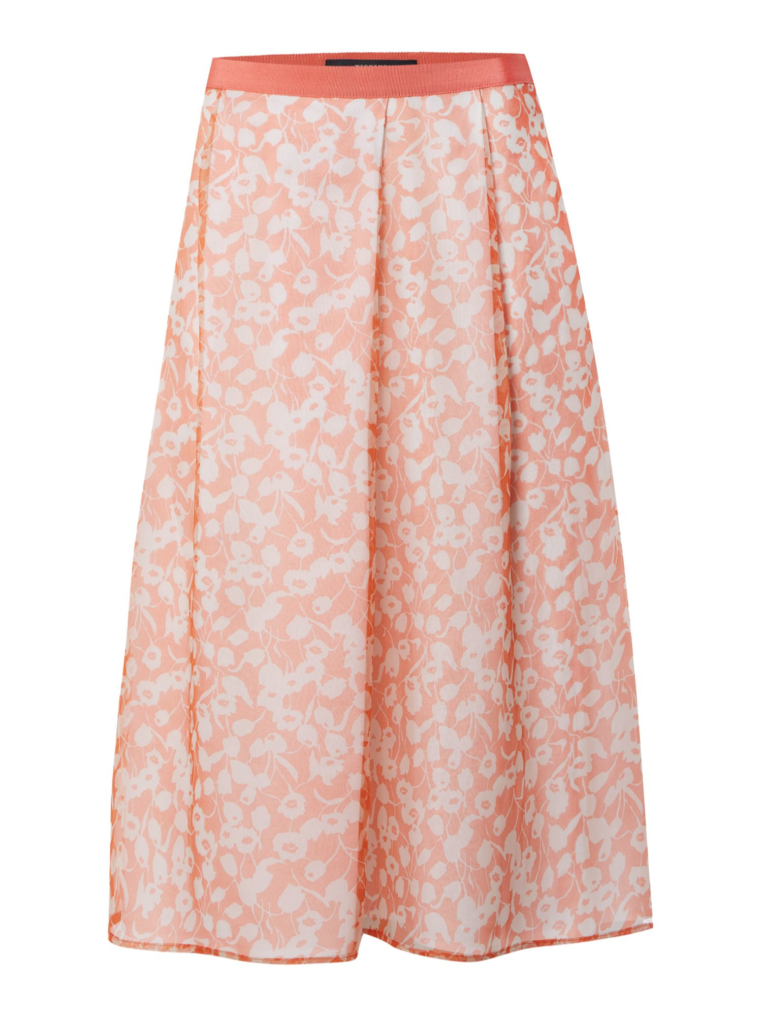 max mara pleated floral silk skirt in pink lyst