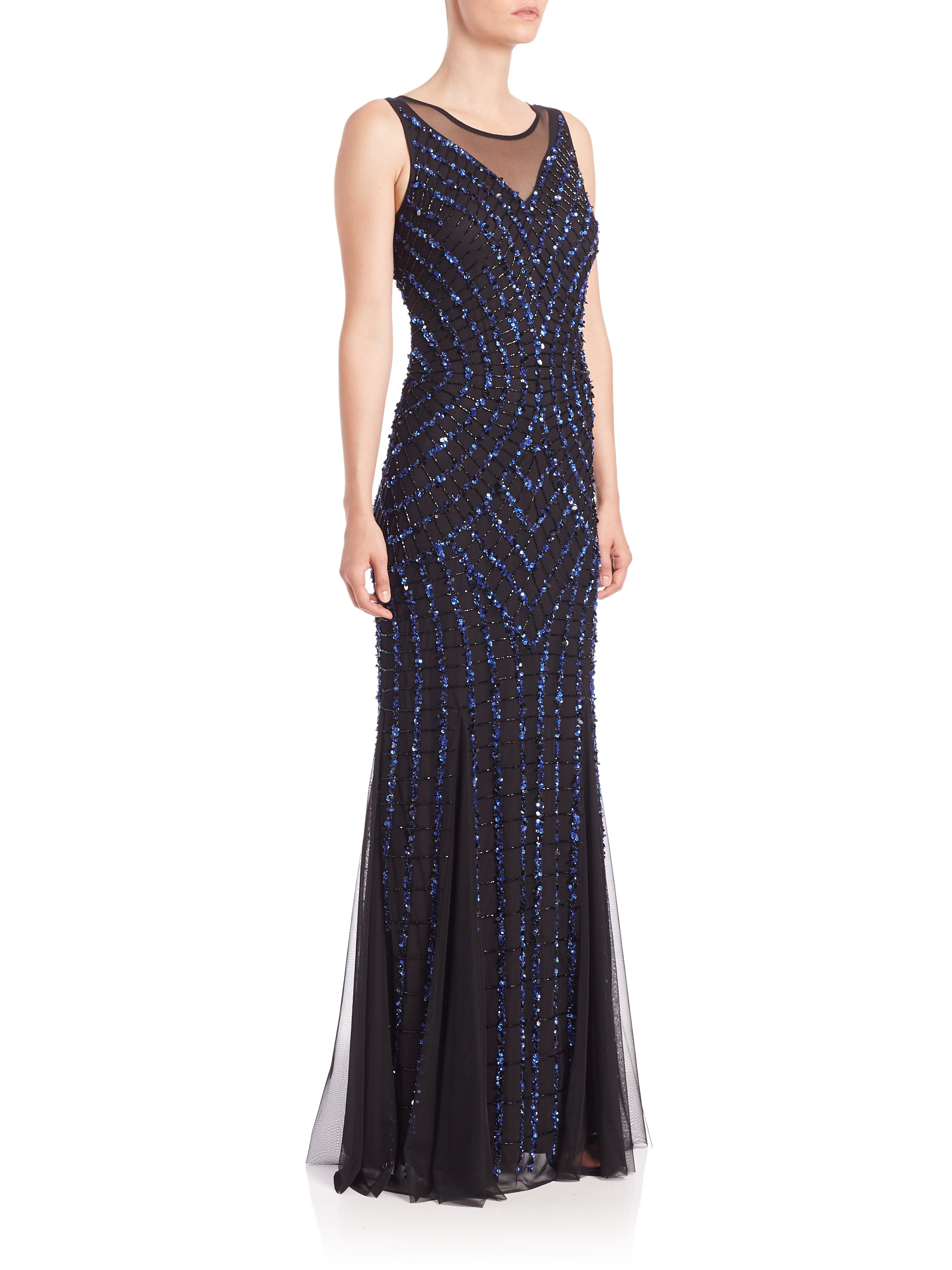 Aidan mattox Illusion-top Sequin Gown in Blue | Lyst