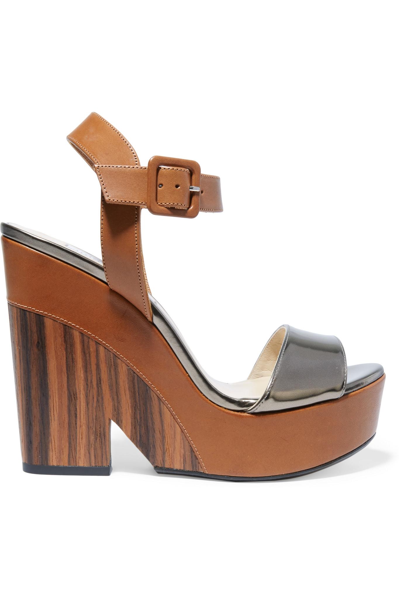 Lyst Jimmy Choo Nico Metallic Leather Wedge Sandals