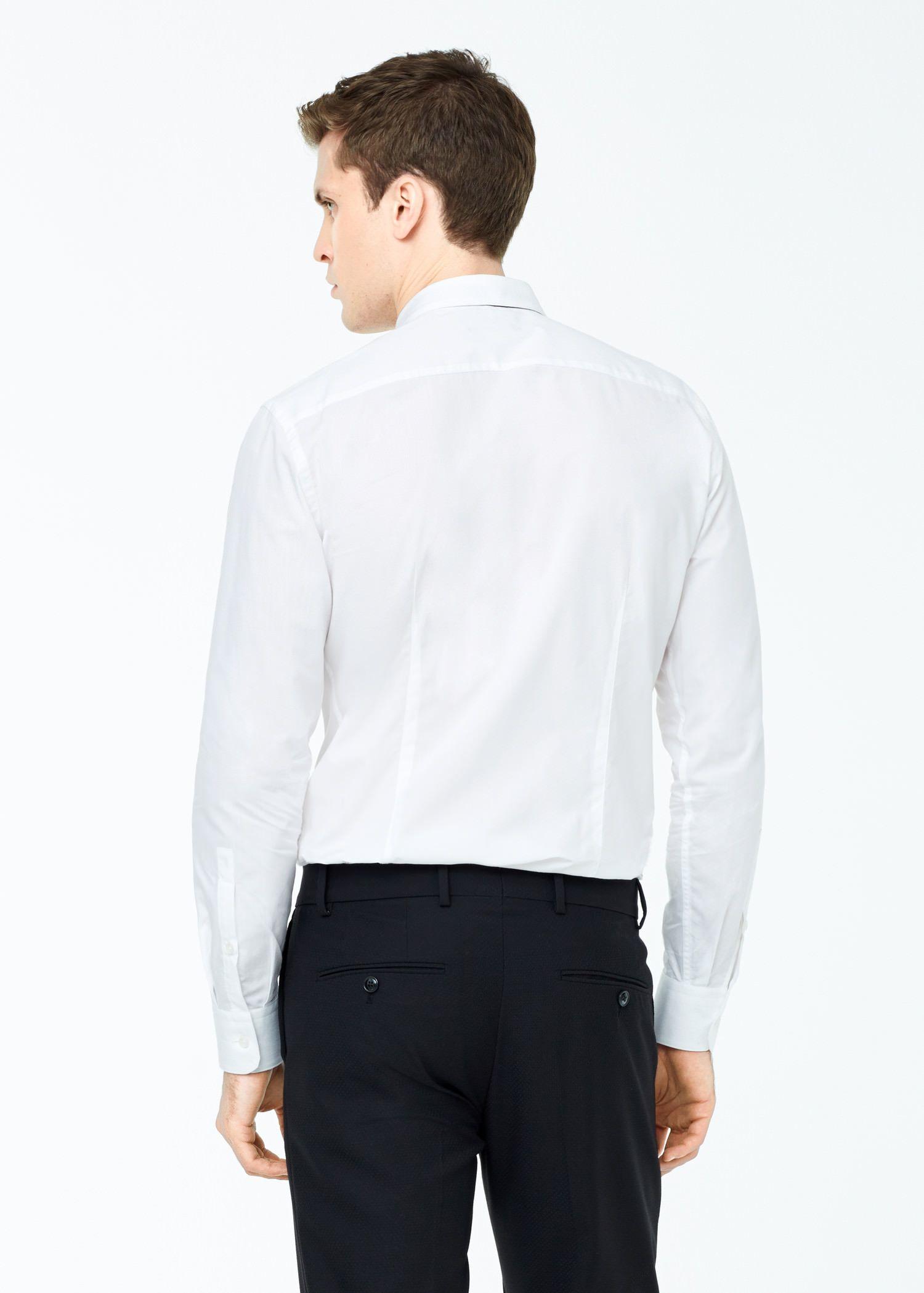 Mango Slim-fit Tailored Mao Collar Shirt in White for Men