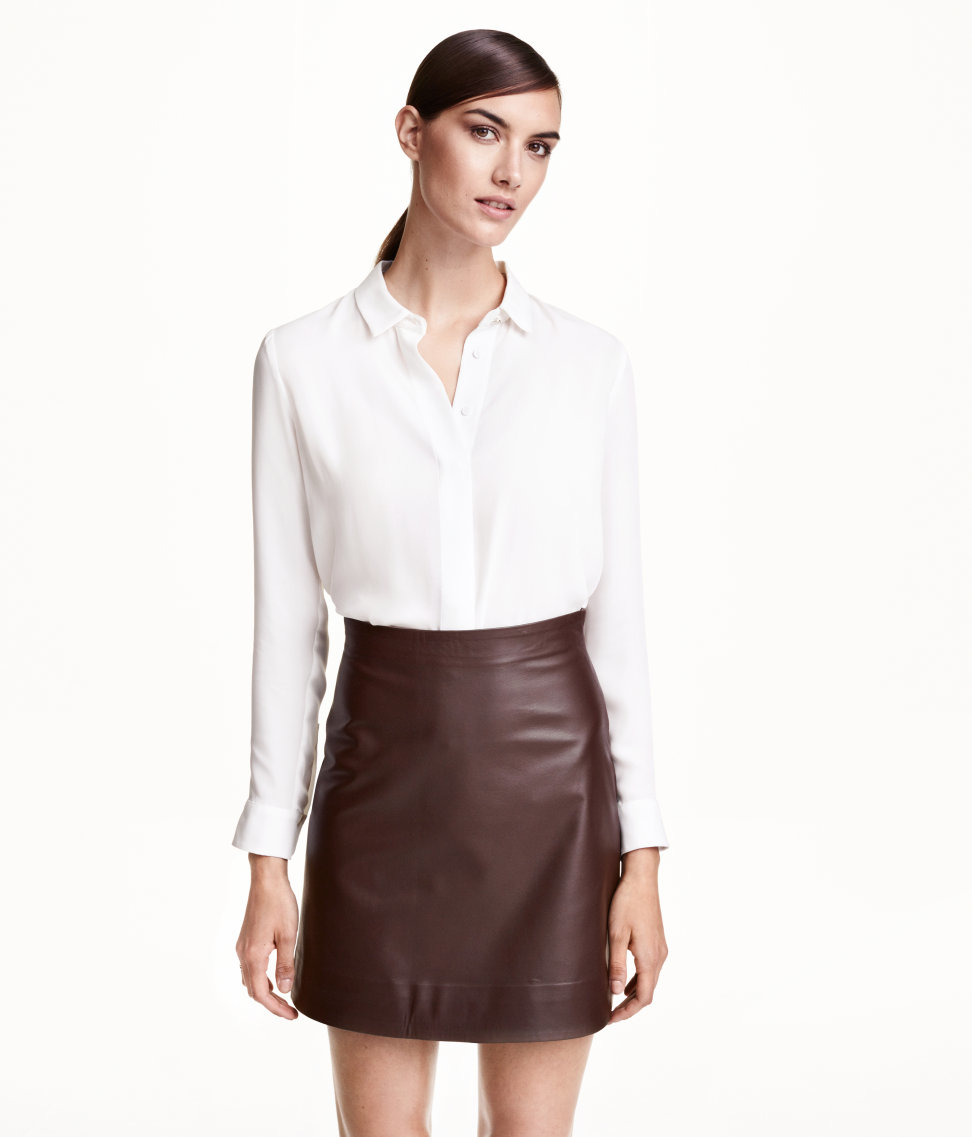 H&m Leather Skirt in Brown | Lyst
