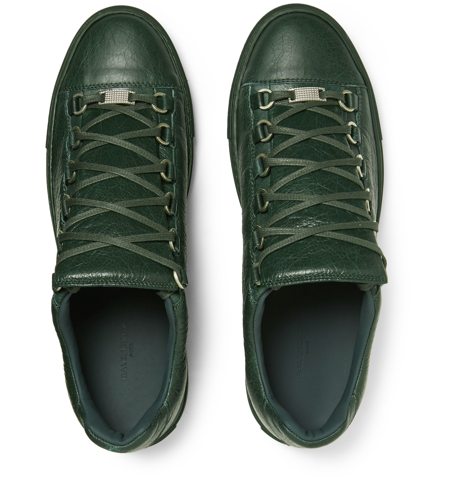 16588cf703ff Lyst - Balenciaga Arena Creased-leather High-top Sneakers in Green for Men