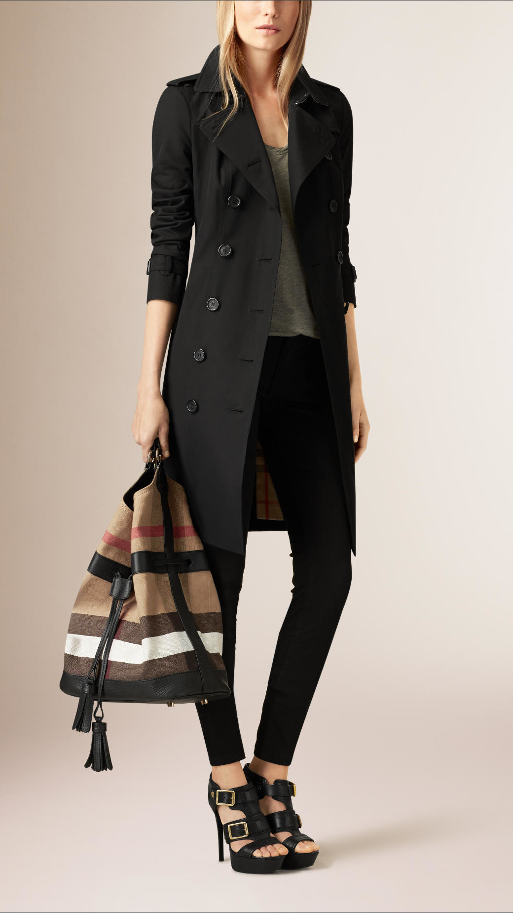 Lyst Burberry The Large Ashby Canvas Check And Leather