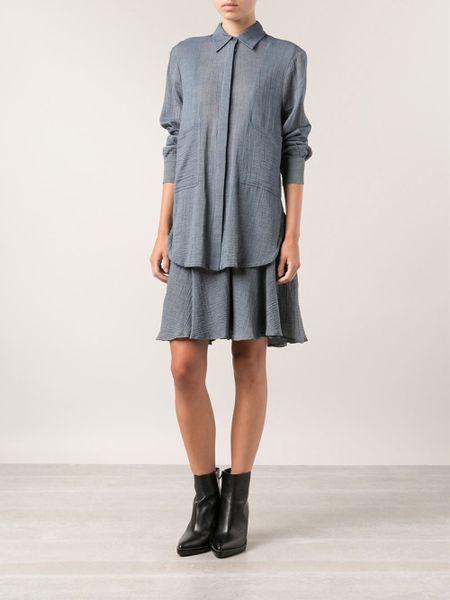 10 crosby derek lam layered shirt dress in blue lyst