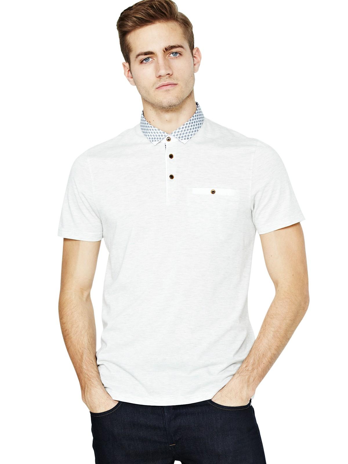 Ted baker ted baker mens woven collar polo shirt in white for Ted baker mens polo shirts