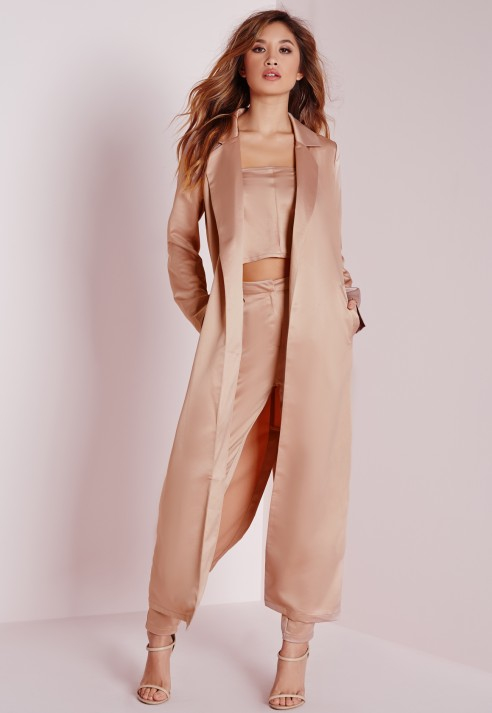 Missguided Satin Belted Maxi Duster Coat Rose Pink In