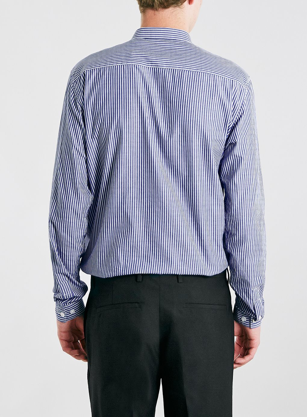 Lyst topman striped long sleeve smart shirt in blue for men for Custom t shirts long island ny