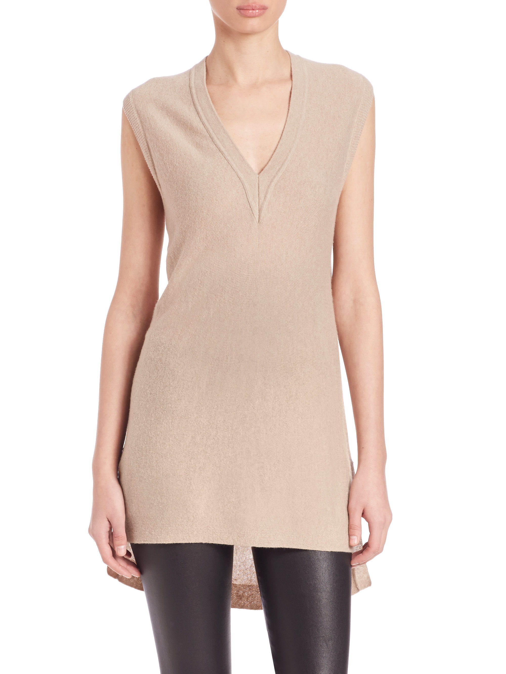 Vince Long Sleeveless Cashmere Sweater in Natural | Lyst
