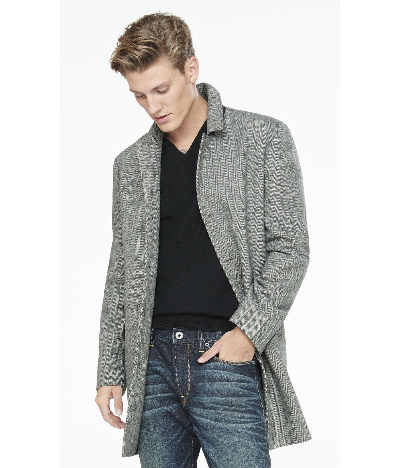 Express Herringbone Tweed Topcoat in Gray for Men | Lyst