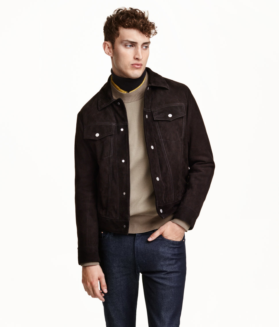 8523e903b H&M Brown Suede Jacket for men