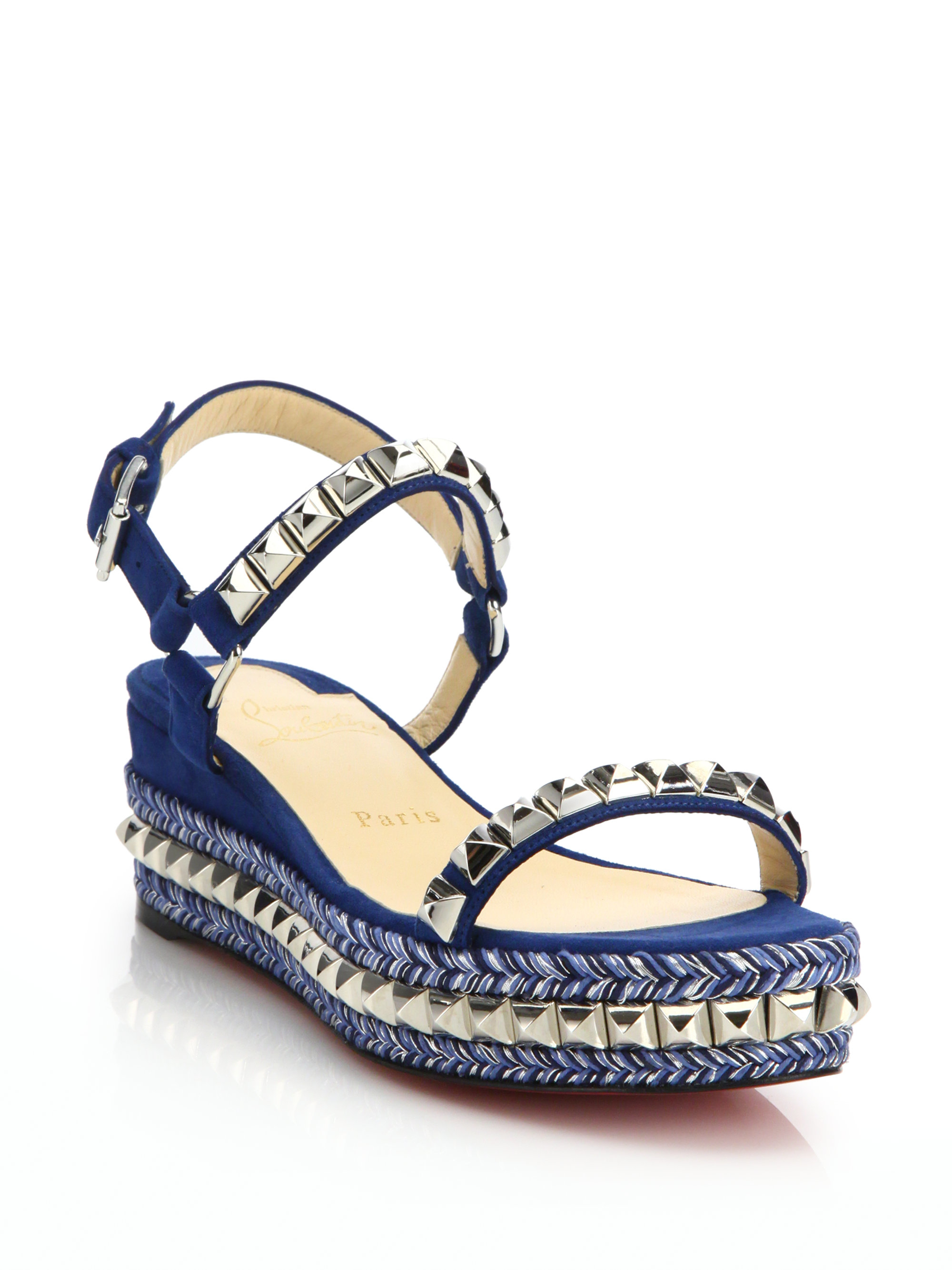 bb677d1ed48f ... ireland lyst christian louboutin suede leather platform sandals in blue  90a8a f9394