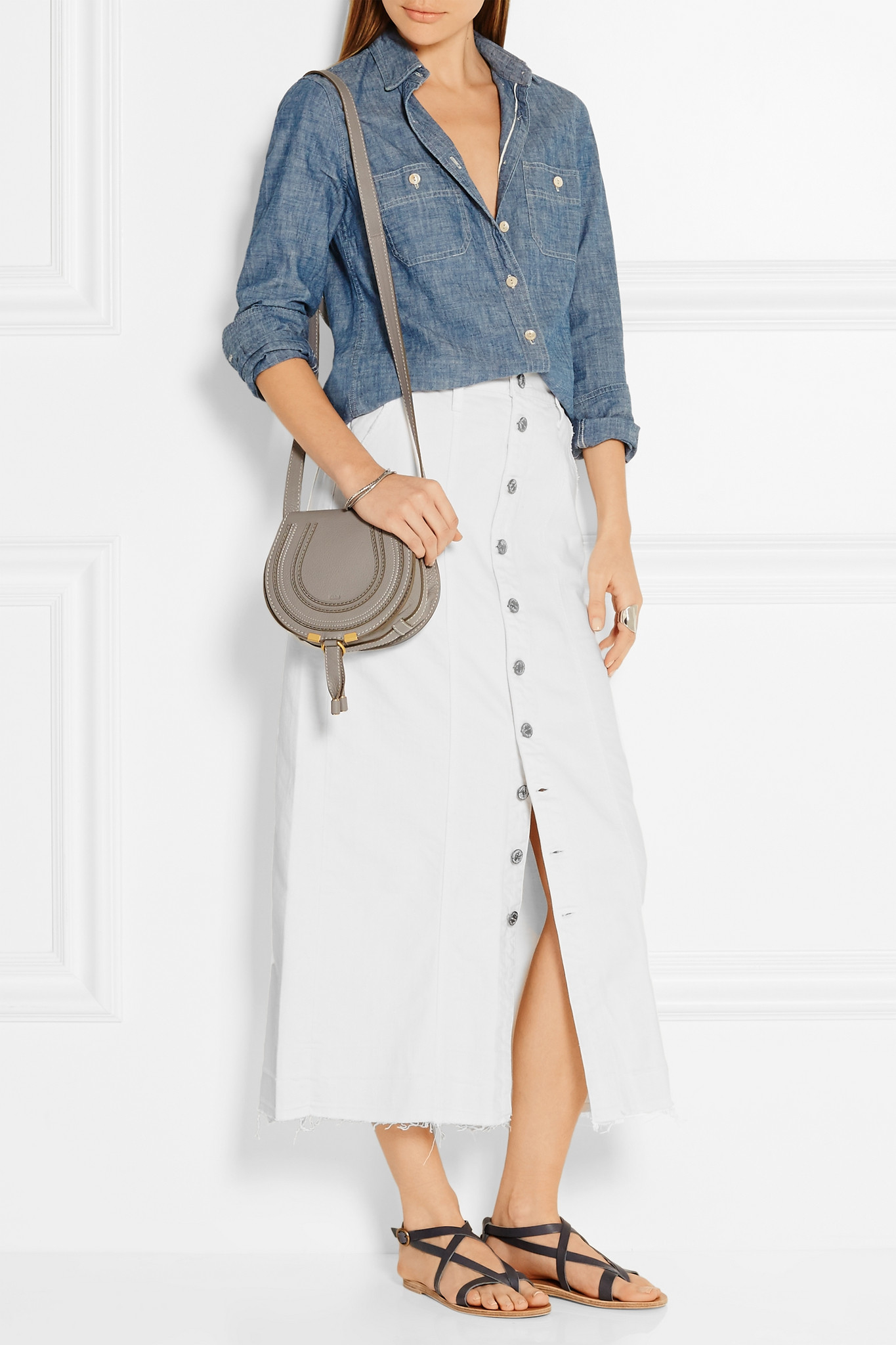 Current/elliott Denim Midi Skirt in White | Lyst