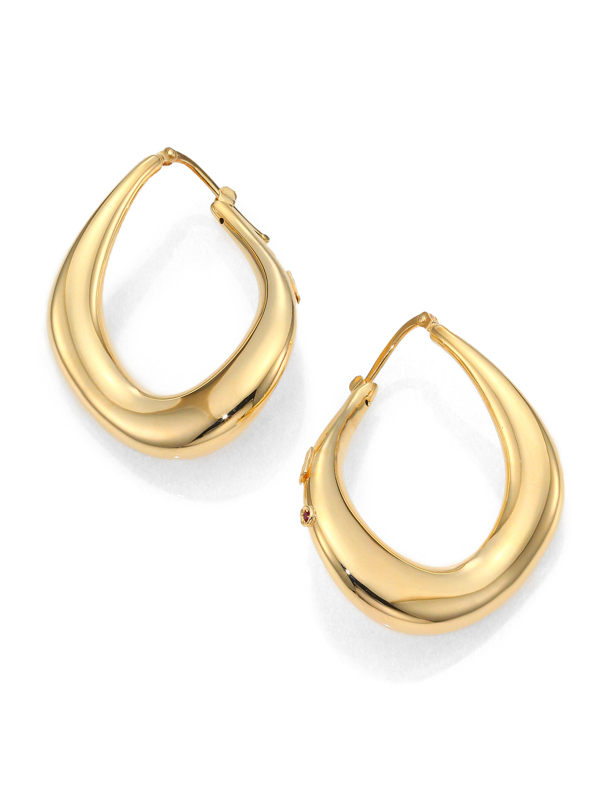 36c862996 Get this amazing deal on Roberto Coin Classica Parisienne Diamond Oval  Earrings.The clean lines of these round earrings are interrupted by a  horizontal.
