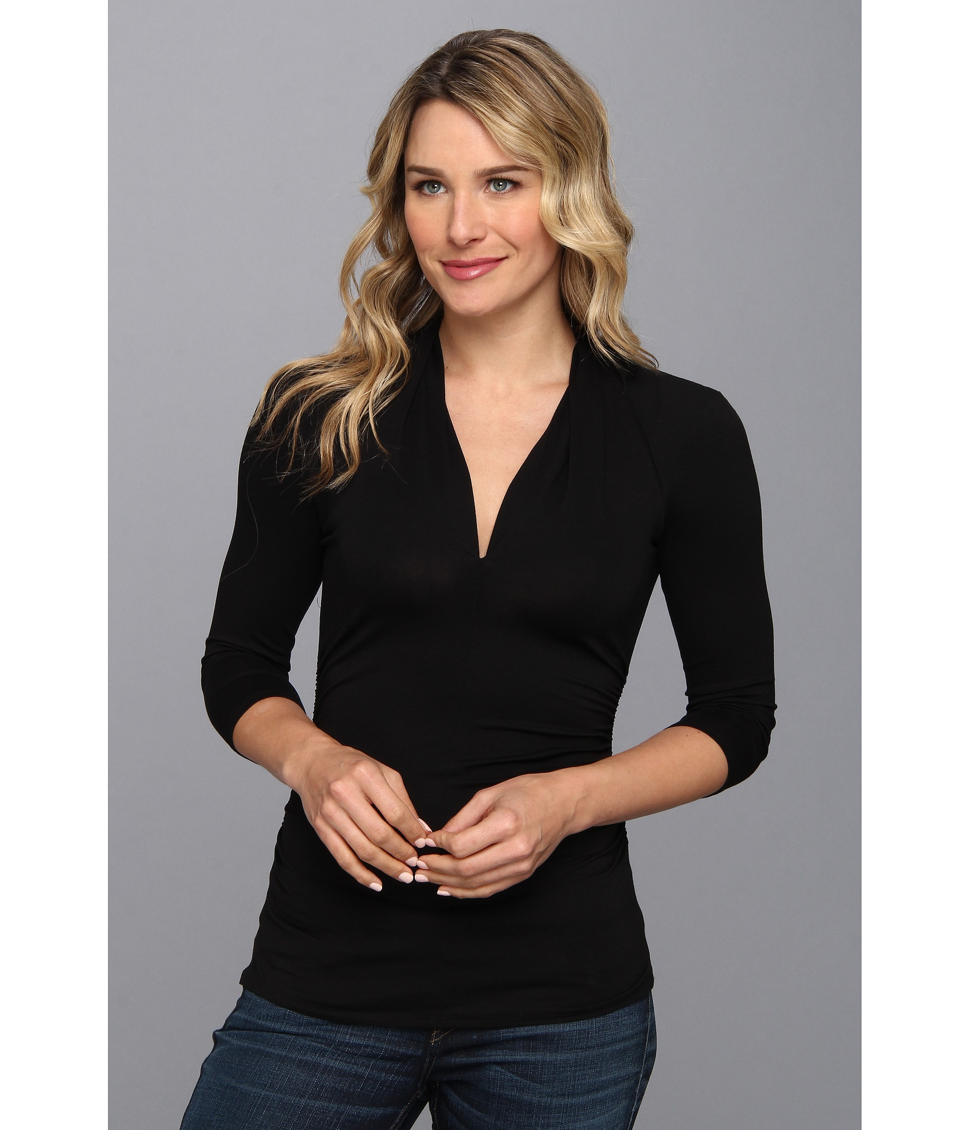 Vince camuto 3/4 Sleeve Pleat V-neck Top in Black (Rich ...