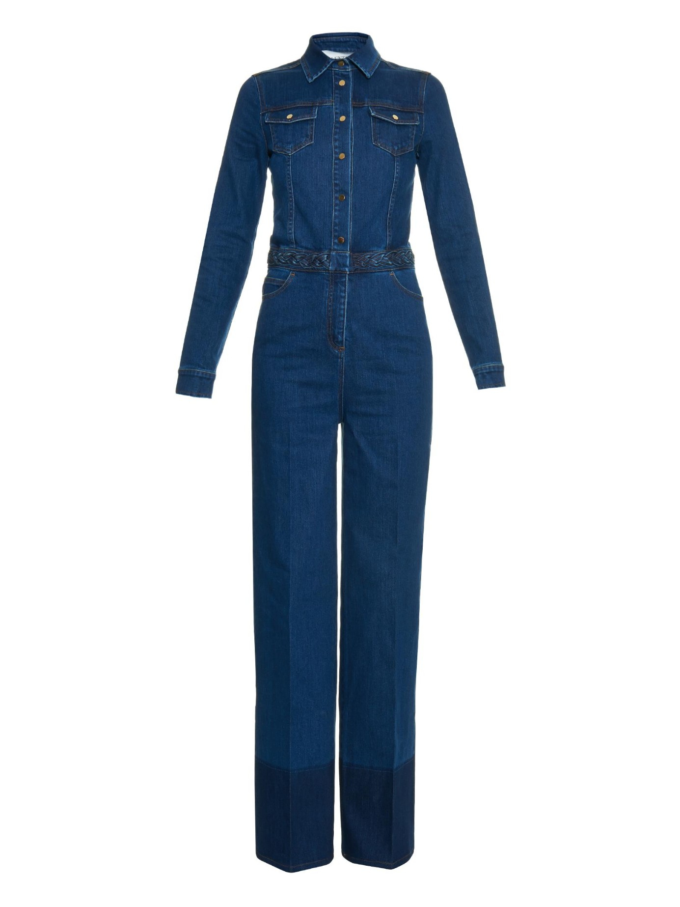 valentino contrast denim jumpsuit in blue lyst