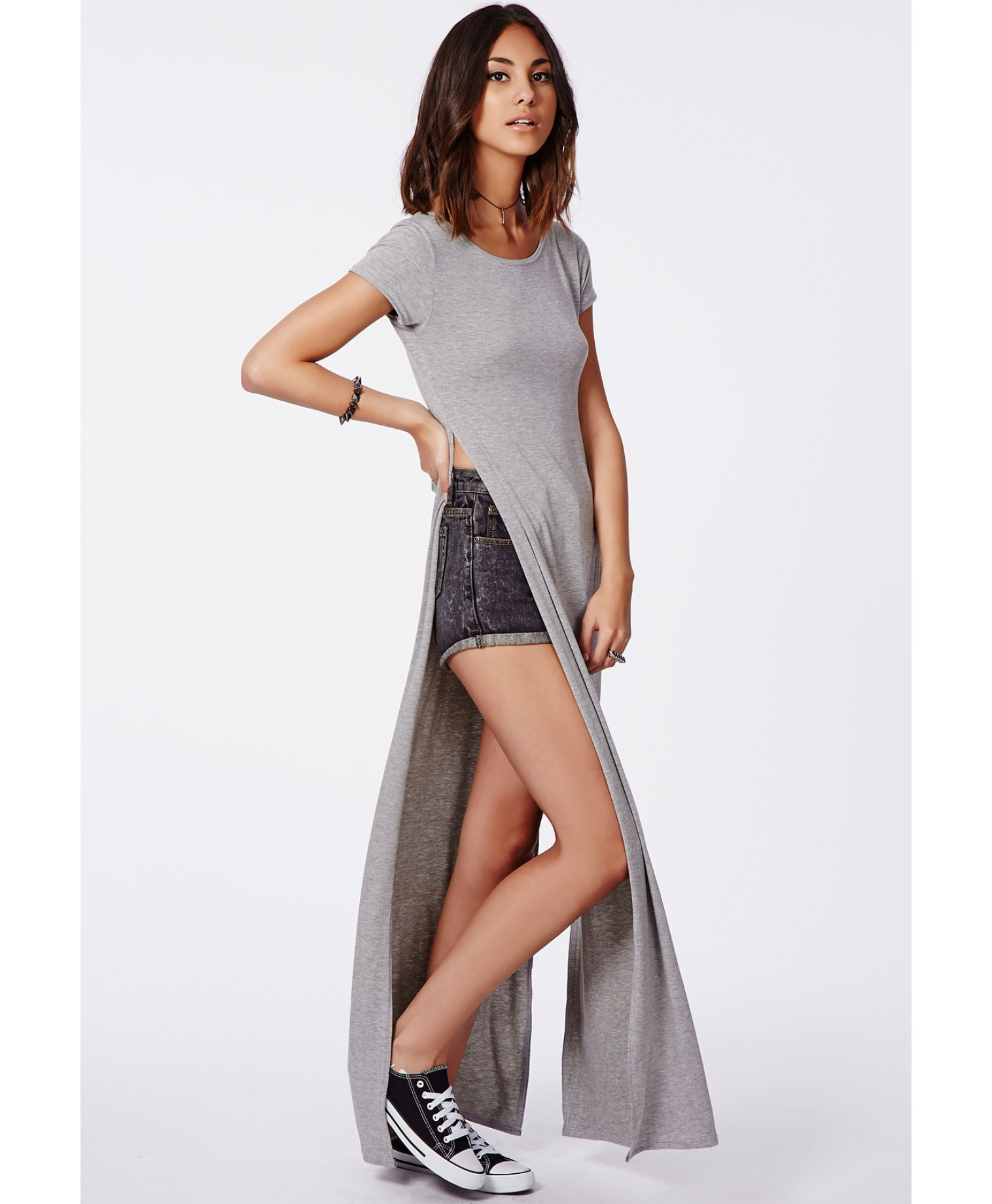 Missguided Krista T Shirt Style Side Split Maxi Dress Grey