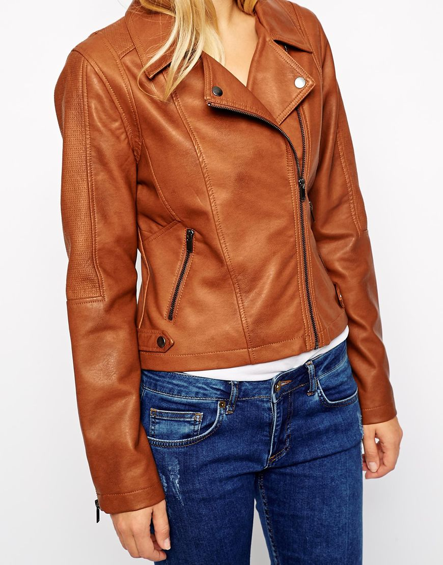 Oasis Faux Leather Biker Jacket in Brown | Lyst