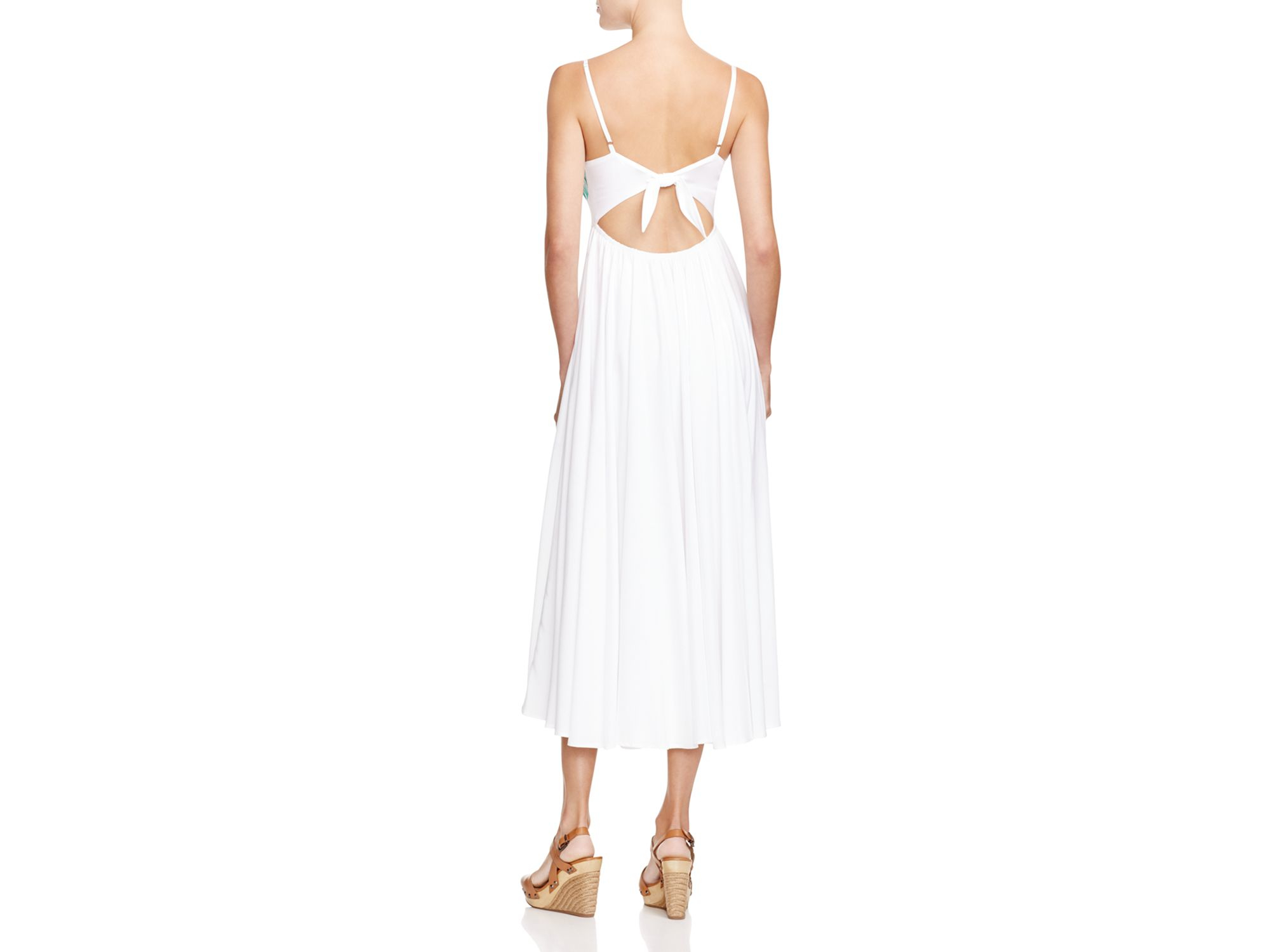 Lyst mara hoffman leaf embroidered dress in white