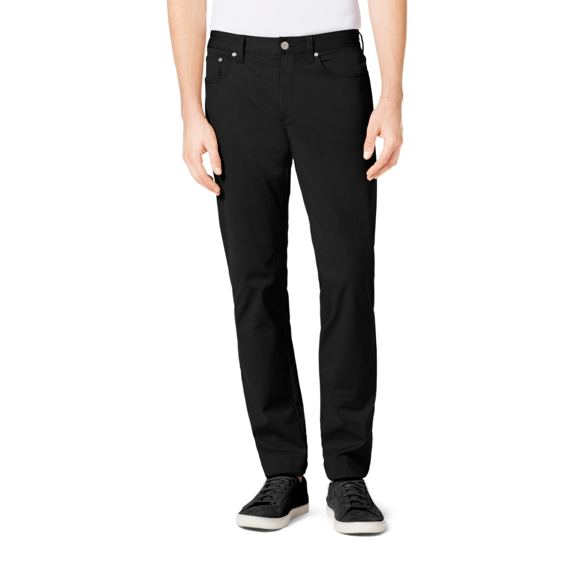 michael kors tailored fit stretch twill jeans in black for men lyst. Black Bedroom Furniture Sets. Home Design Ideas