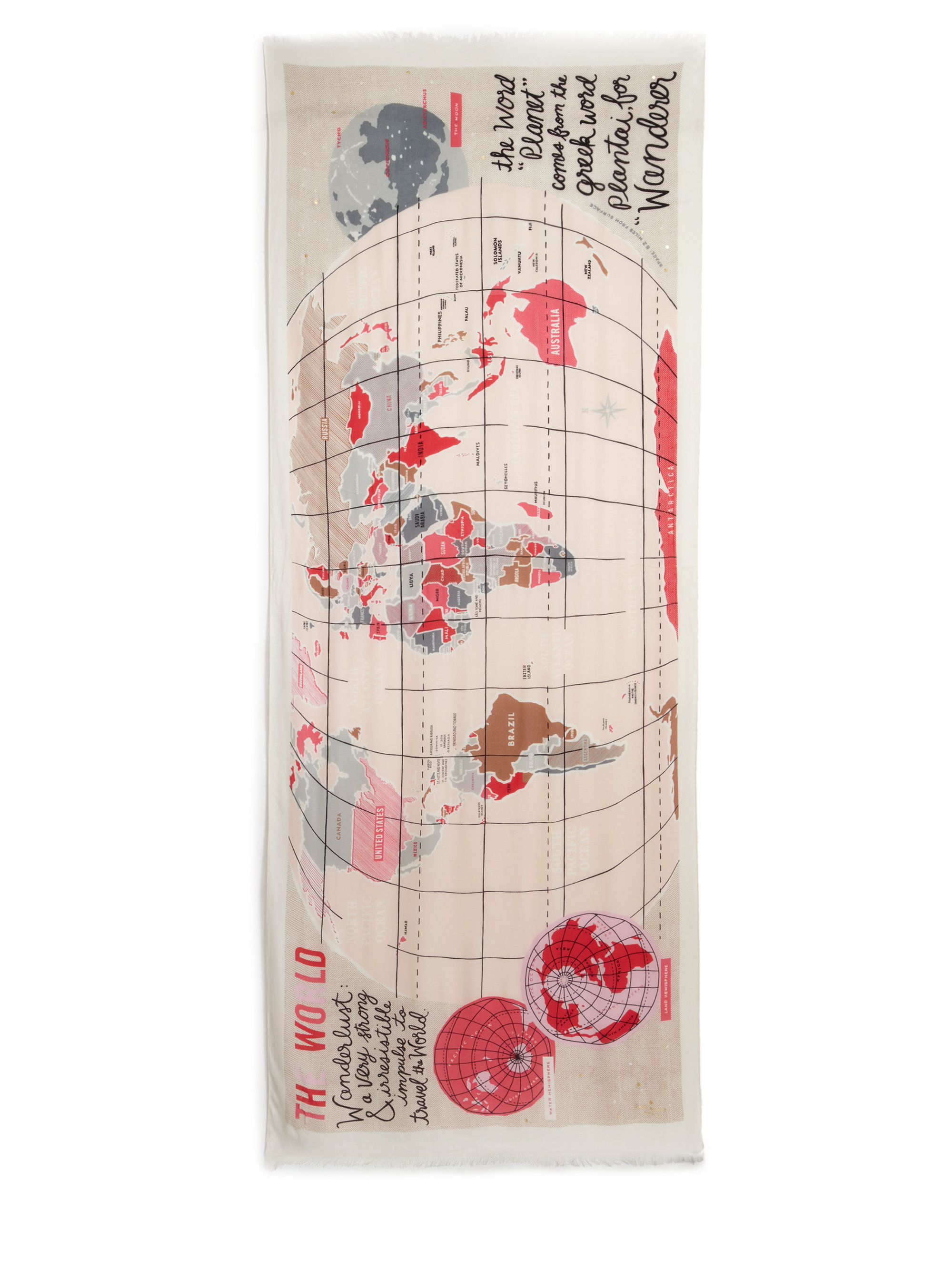Lyst kate spade new york wanderlust map viscose scarf in natural gallery sciox Image collections