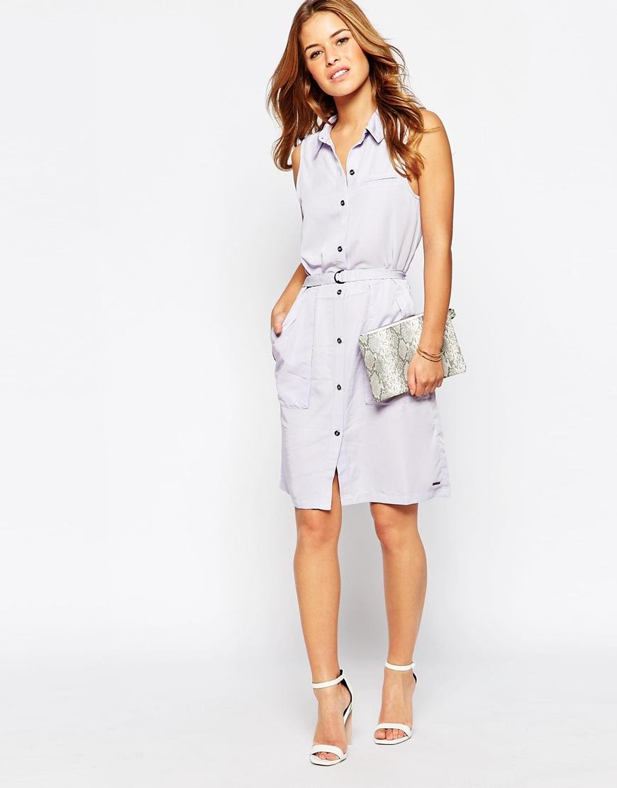 Vero Moda Sleeveless Shirt Dress In White (Purple)