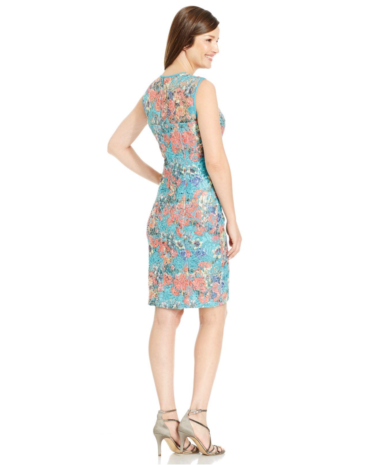 Turquoise Lace Sheath Dress