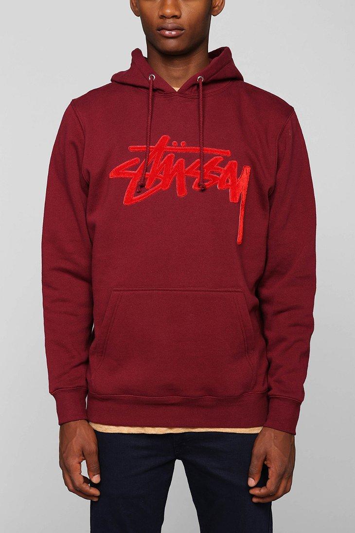 maroon stussy hoodie