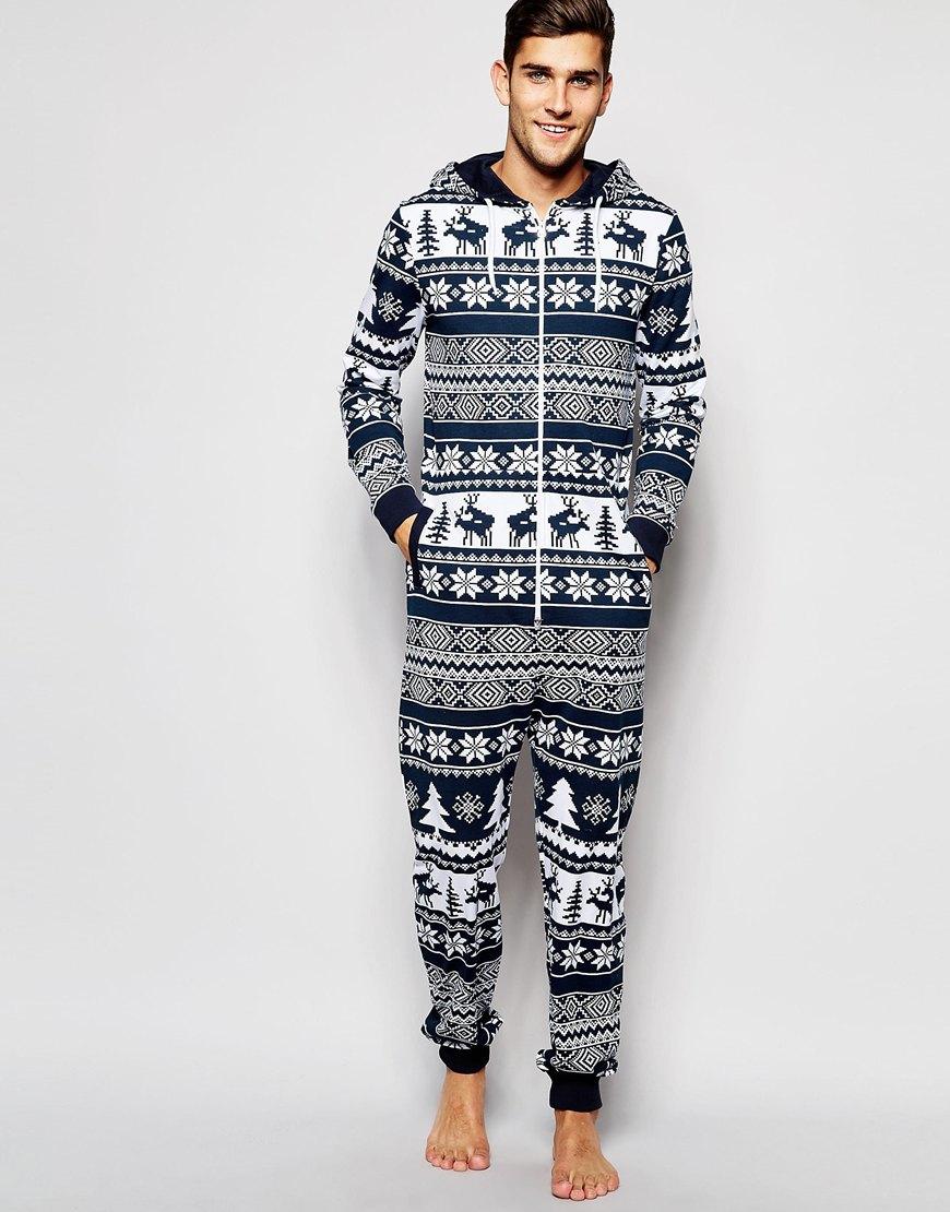 3a2e4143df0 Lyst - ASOS Loungewear Onesie With Reindeer Fair Isle Print in Blue ...