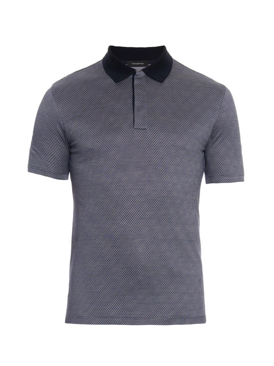 Ermenegildo Zegna Cotton And Silk Blend Polo Shirt In Blue